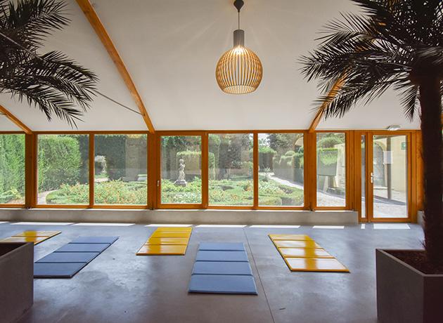 Yoga dans le jardin d'hiver